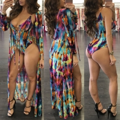 Occident fashion hot sale the swimwear and cover up suit