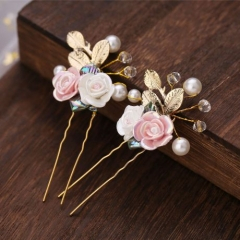 Cute pink color flower baby hair accessory