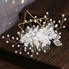Korean fashion white color stero flower and pearl hair accessory