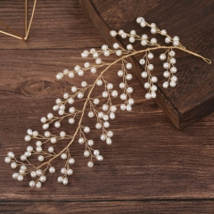 Occident fashion gold color the leaf shape pearl hair accessory