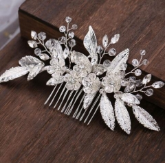 Silver color leaf shape bridal hair accessory