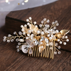 Luxury palace trend gold color leaf hair comb