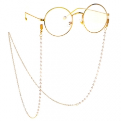 Fashion concise pearl glasses chain