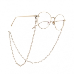 Fashion concise pearl metal glasses chain