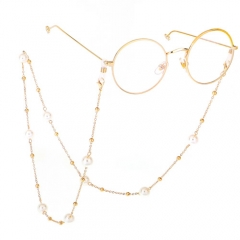 Fashion concise sweet pearl metal beads glasses chain