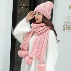 Versatile knit warm wool cap scarf two-piece set