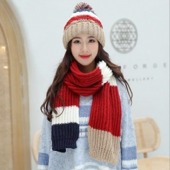 Easy match the stripe pattern warm hat and scarf two piece set