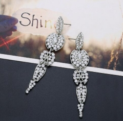 Occident fashion hot sale pave setting gem shining long bridal earrings