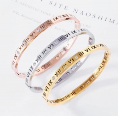 Roman numerals hollow out stainless steel bangle