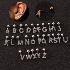 Occident fashion the stainless steel 26 letter zircon setting ear studs