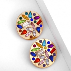 Vintage round shape colorful zircon setting ear studs