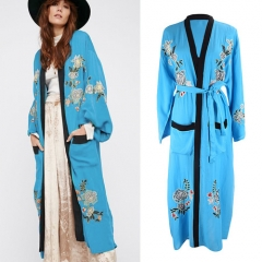 Blue embroidered beach sunscreen cardigan