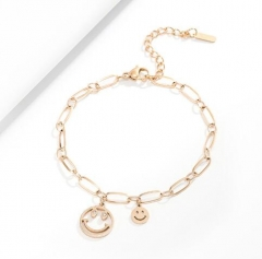 Hollow out smiling face rose gold color stainless steel bracelet