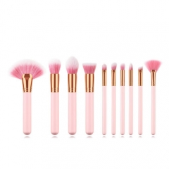 Fashion concise pink 10 pieces makeup brushes set