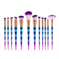Fashion concise colorful 12 pieces makeup brushes set