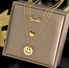 Smile letter love heart and smiling face multi layer stainless steel necklace