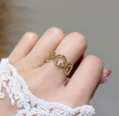 Real gold plated the smiling face shape cuff ring