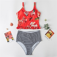 Fashion sweet flower split swimwear