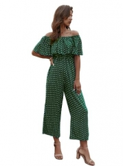 Occident fashion off shoulder wave point jumpsuits