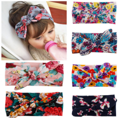 Vintage flower printing knot hair band for baby