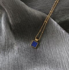 Blue color square shape pendant stainless steel necklace