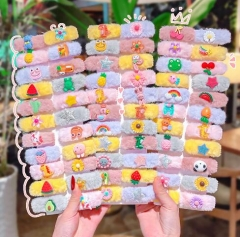 Cartoon colorful feather babay hair pin set