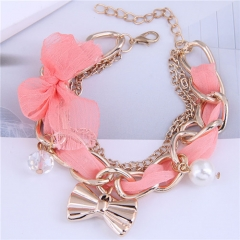 Fashion sweet lace metal chain bracelet with bowknot pendant