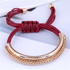 Fashion wax rope bracelet with metal tube