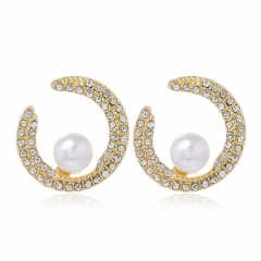 Fashion concise rhinestones pearl crescent moon ear studs