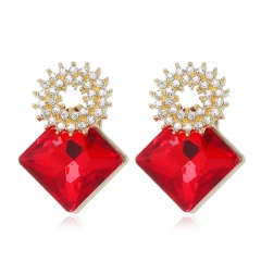 Fashion rhinestones gem square ear studs