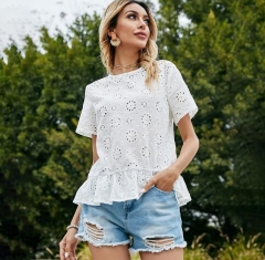 Sweet white color hollow out summer tops